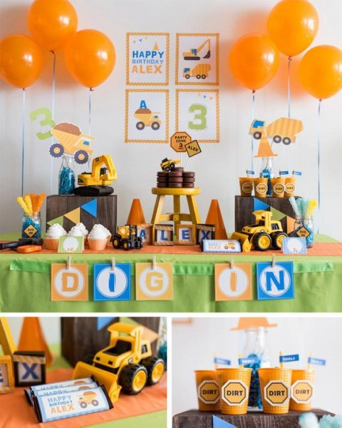 Digital Files Construction Party Decorations, Diy Party Collection