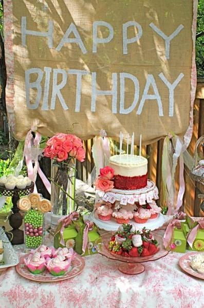 A Little Cuppa Tea  Shabby Chic Burlap Birthday Sign