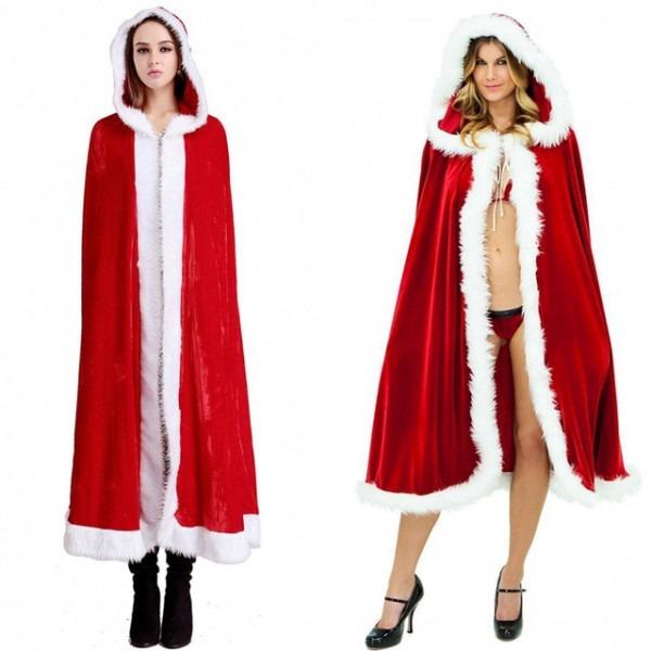 Merry Christmas Mrs Santa Claus Cloak Xmas Costume Cappa Cloak