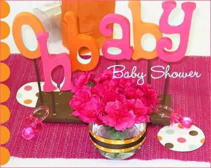 Hot Pink And Orange Baby Shower
