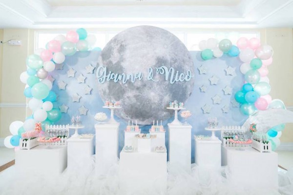 Kara's Party Ideas Pastel Moon & Stars Birthday Party