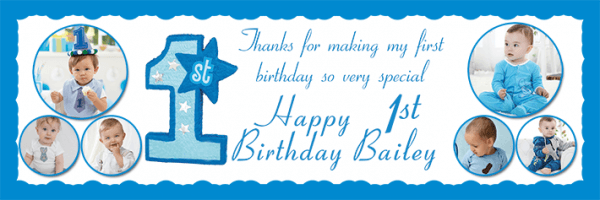 Personalised 1st Birthday Banners 1st Birthday Photo Collage