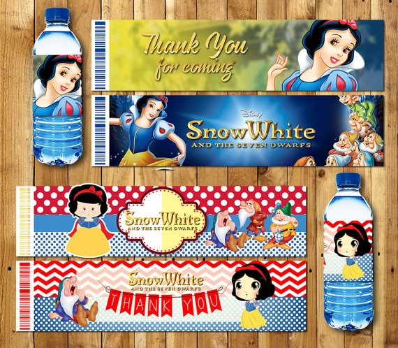 Princess Snow White Bottle Water Labels,wrappers, Baby Shower