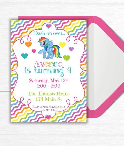 Rainbow Birthday Party Invitation Birthday Party Invite Rainbow