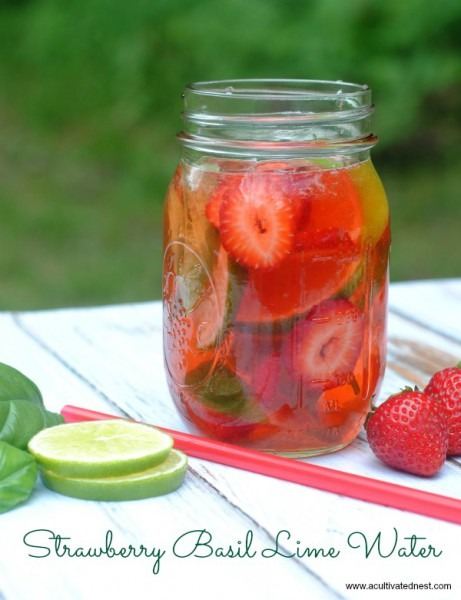 Refreshing Strawberry Lime Basil Infused Water