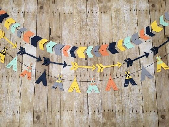 Teepee Arrow Garlands Baby Shower Tribal Nursery Banner Birthday