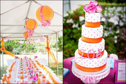 The Cutest Pink And Orange Baby Shower Luxurious Cake Qualified 5