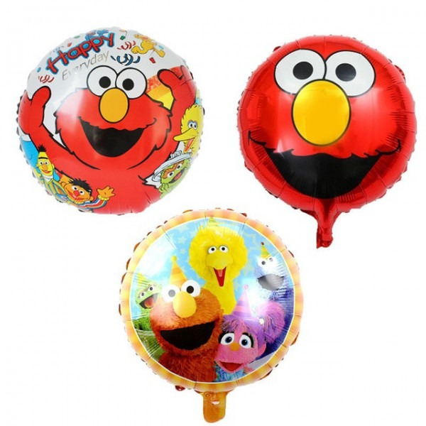 3 Pcs Set Red Sesame Street Balloon Happy Birthday Party