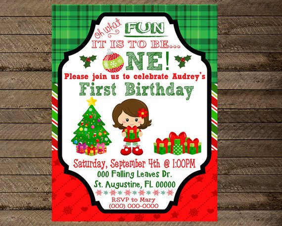 Christmas Invite, Christmas Birthday Invite, Christmas First