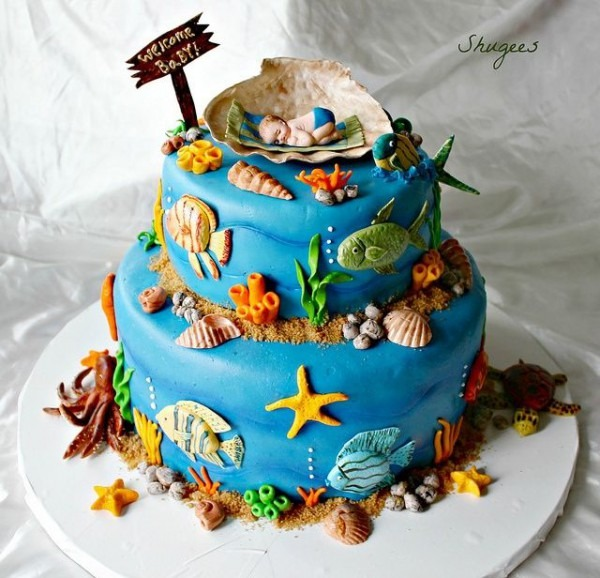 Sea Life Baby Shower Cakes
