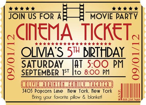 Printable Movie Ticket Birthday Invitation Movie Event Hollywood