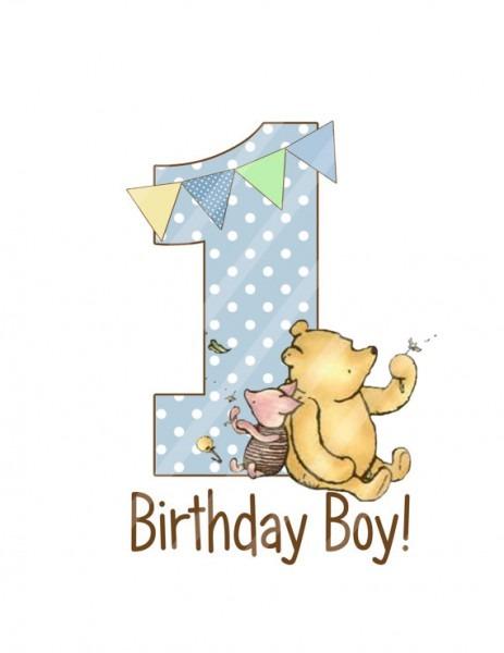 Classic Winnie The Pooh Baby's Birthday, Birthday Printable