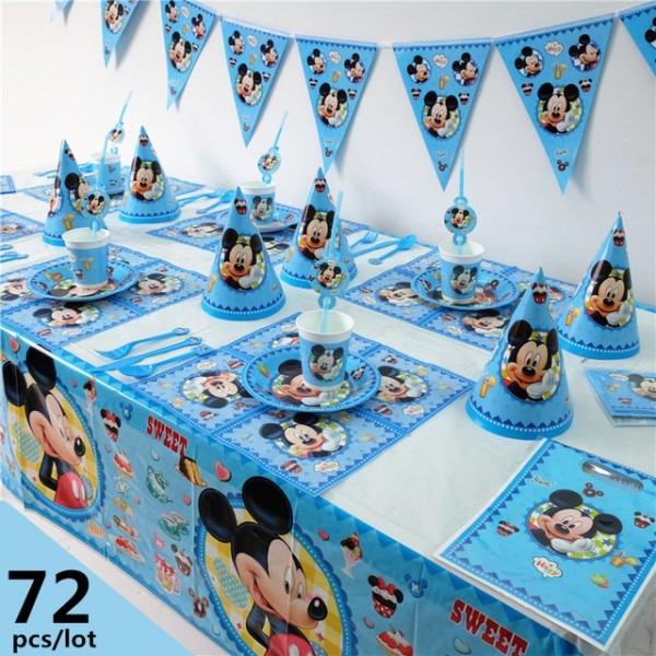 72pcs Luxury Disney Mickey Mouse Theme Baby Shower Kids Birthday