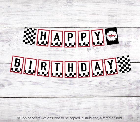 Race Car Printable Happy Birthday Banner (retro Vintage Style
