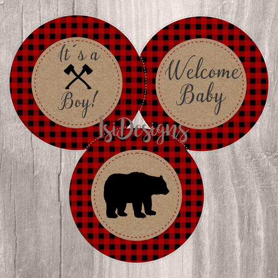 Lumberjack Baby Shower Centerpieces, Instant Download, Woodland