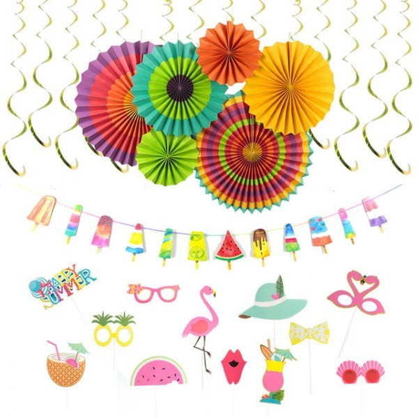 Colorful Summer Popsicle Party Decoration Kit Paper Rosette