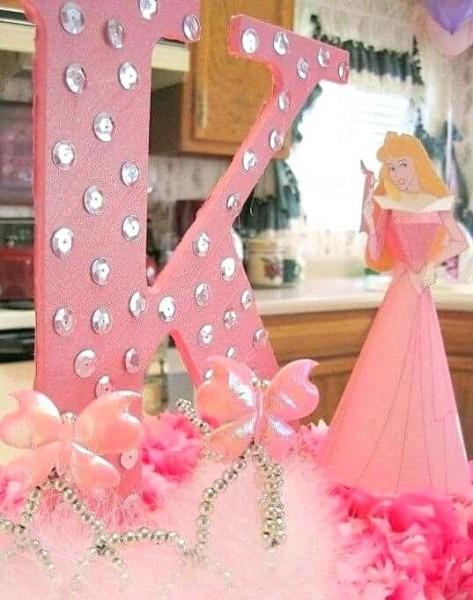 Princess Table Centerpieces Initial Aurora Party Decoration